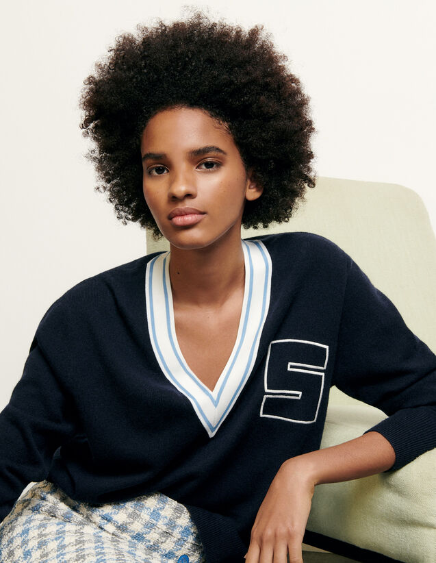 V-Neck Sweater With S Initial : Sweaters & Cardigans color Navy Blue