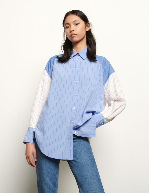 Oversized Striped Patchwork Shirt : Shirts color Blue/white