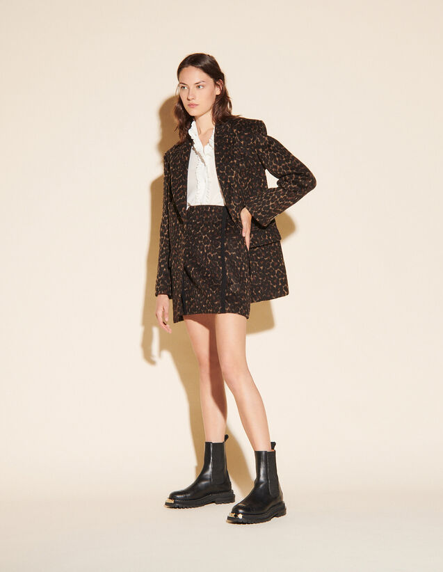 Short Leopard Skirt : Skirts & Shorts color Black Brown