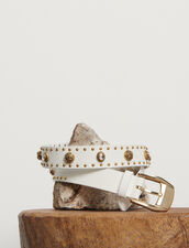 Belt Trimmed With Rivets : Belts color white