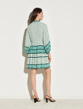 Short Printed Shirt Dress : Dresses color Green