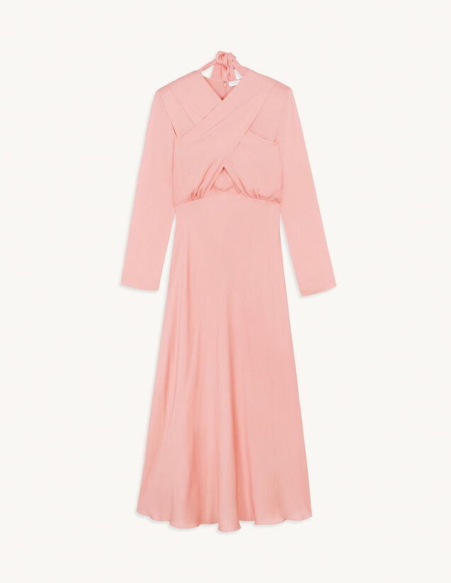 Long Dress With Draped Neckline : Dresses color Pink