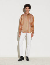 Striped Viscose Shirt : Shirts color Ochre