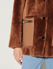 Sheepskin Coat With Large Collar : Coats color Brown