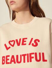 Sweatshirt With Contrasting Block Motif : Tops color Light Beige