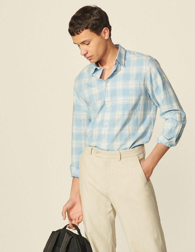 Checked Cotton Shirt : Shirts color Pastel blue