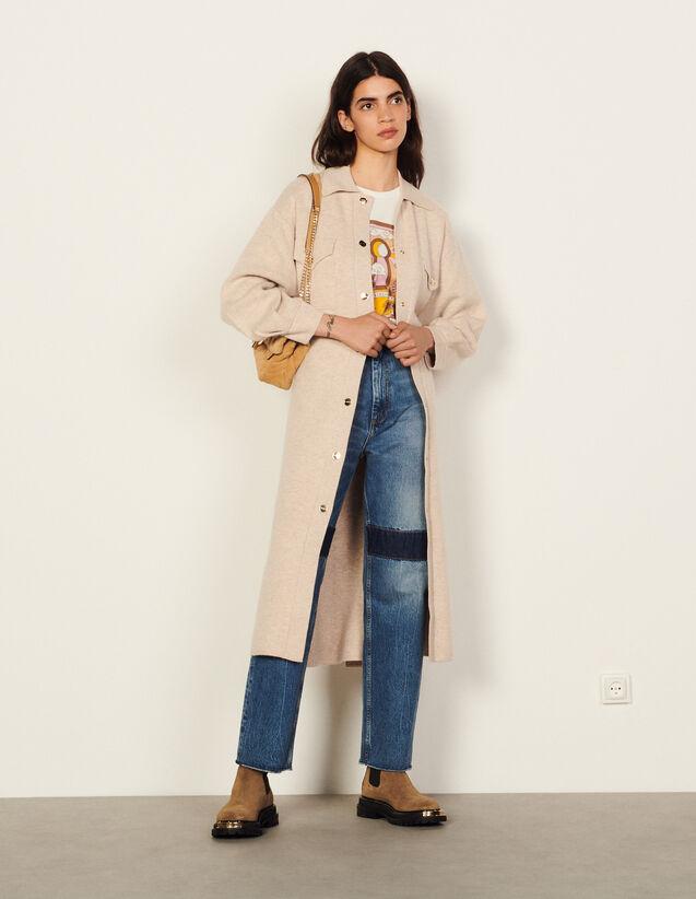 Long Wool Coatigan : Coats color Beige