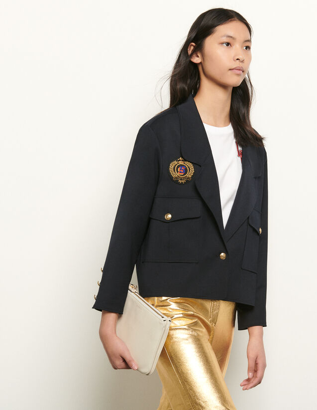 Short Tailored Jacket With Patch : Blazer & Jacket color Navy Blue