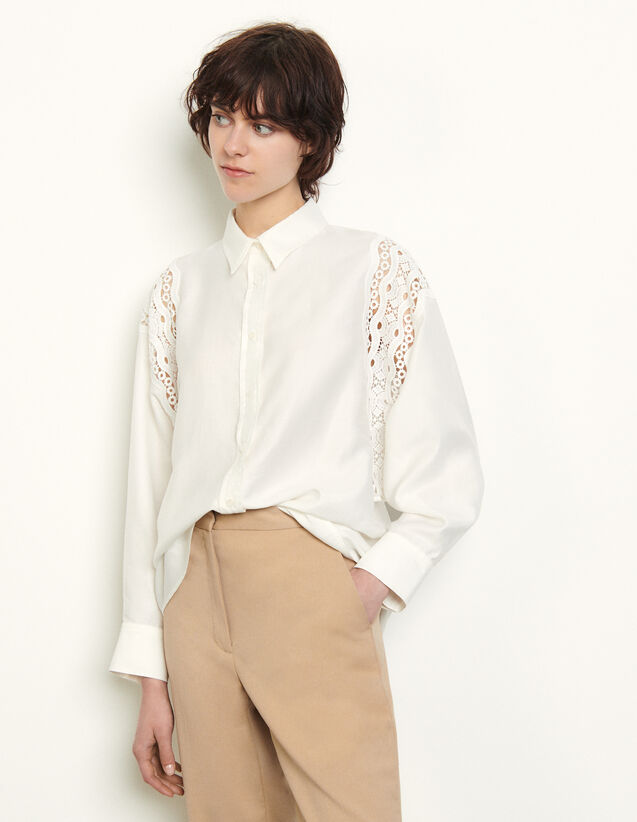 Shirt With Guipure Inserts : Shirts color white