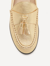 Metallic Leather Loafers : Pumps & Sandals color Gold
