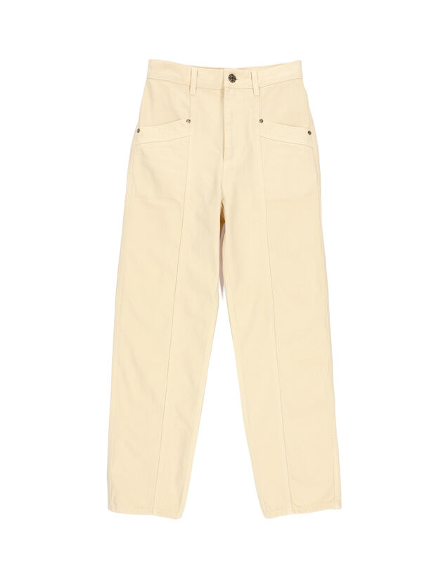 High-Waisted Jeans : Jeans color Ecru