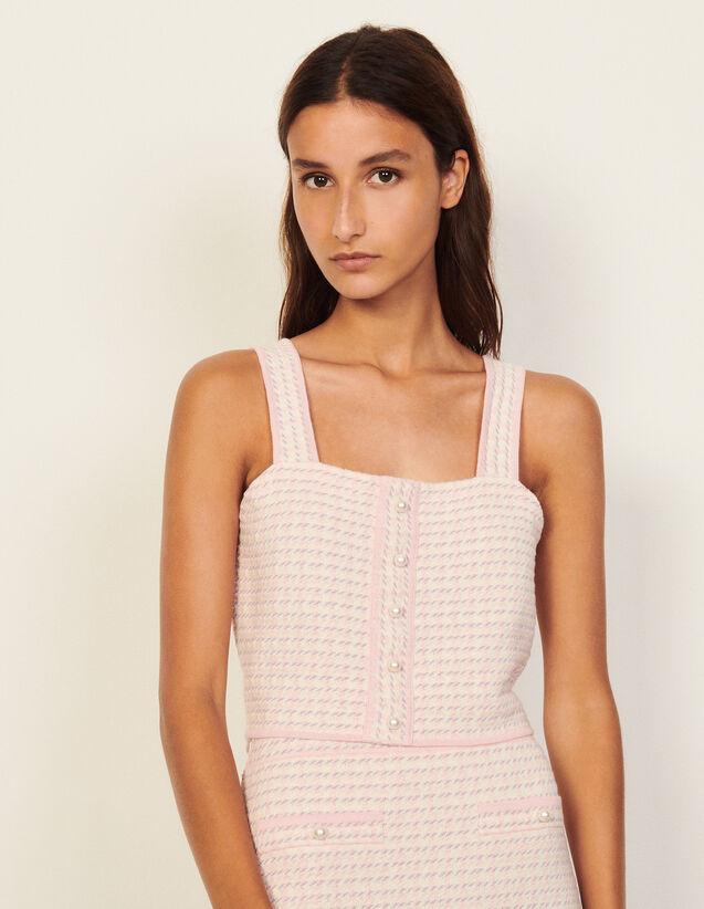 Cropped Top In Fancy Tweed : Tops color Pink