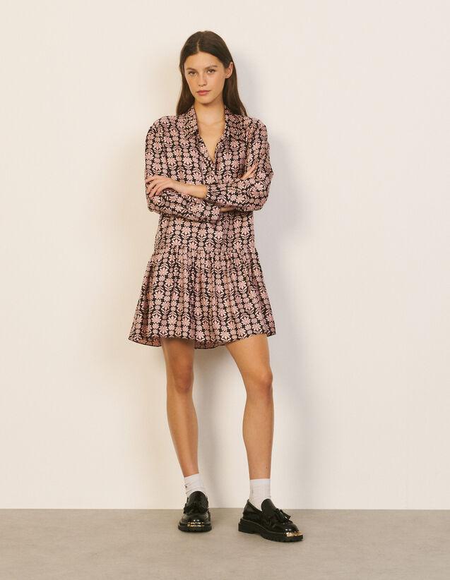 Printed Silk Dress : Dresses color Black / Pink