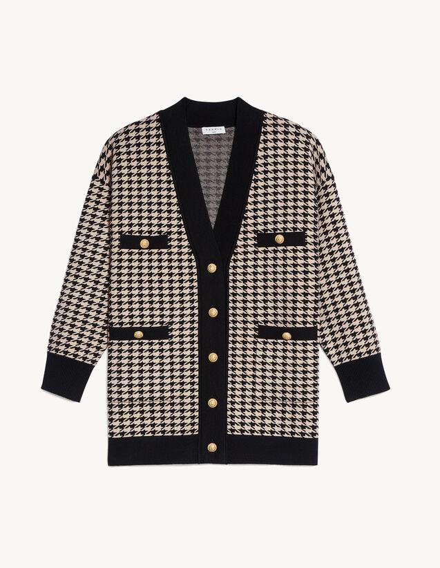 Long Houndstooth Cardigan : Sweaters & Cardigans color Ecru / Black
