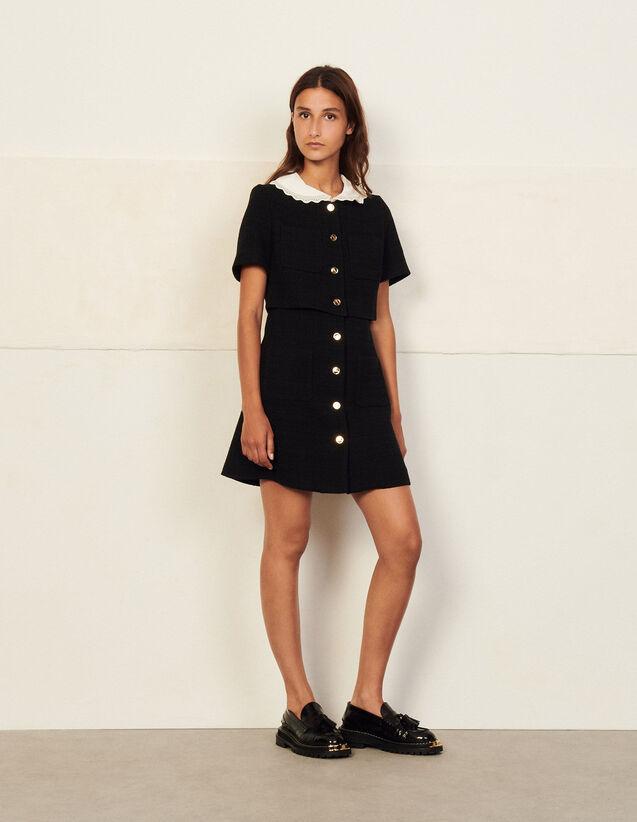 Short Tweed Dress : Dresses color Black