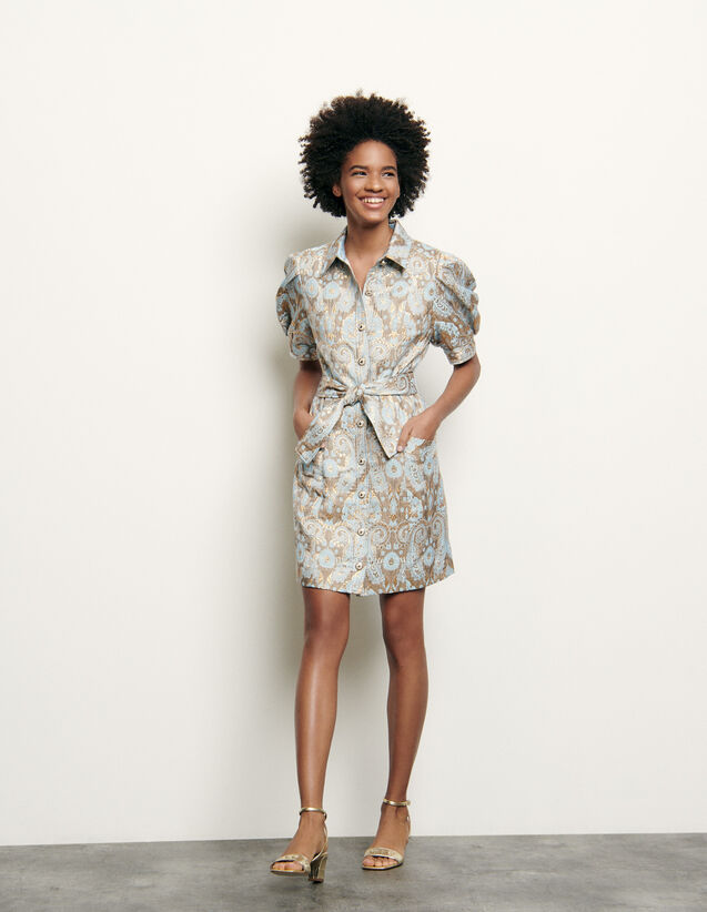 Brocade Coat Dress : Dresses color Gold / Blue