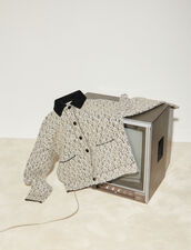 Lurex Tweed Jacket With Contrast Collar : Blazer & Jacket color Ecru / Black
