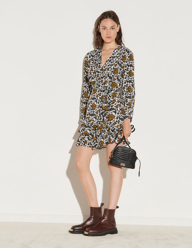 Short Printed Dress : Dresses color Ecru / Black