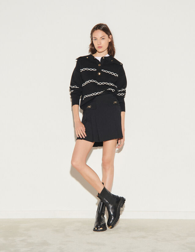 Short Skirt With Stitched Pleats : Skirts & Shorts color Black
