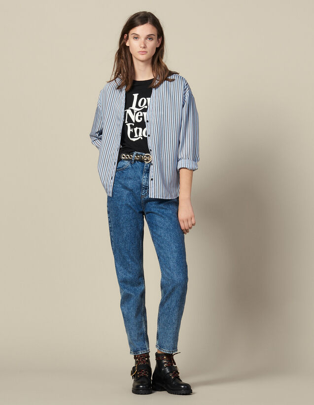 Striped Poplin Blouse : Shirts color Blue sky