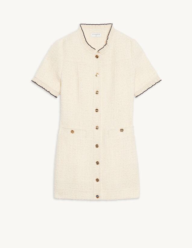 Short Dress With Fancy Braid Trim : Dresses color Ecru