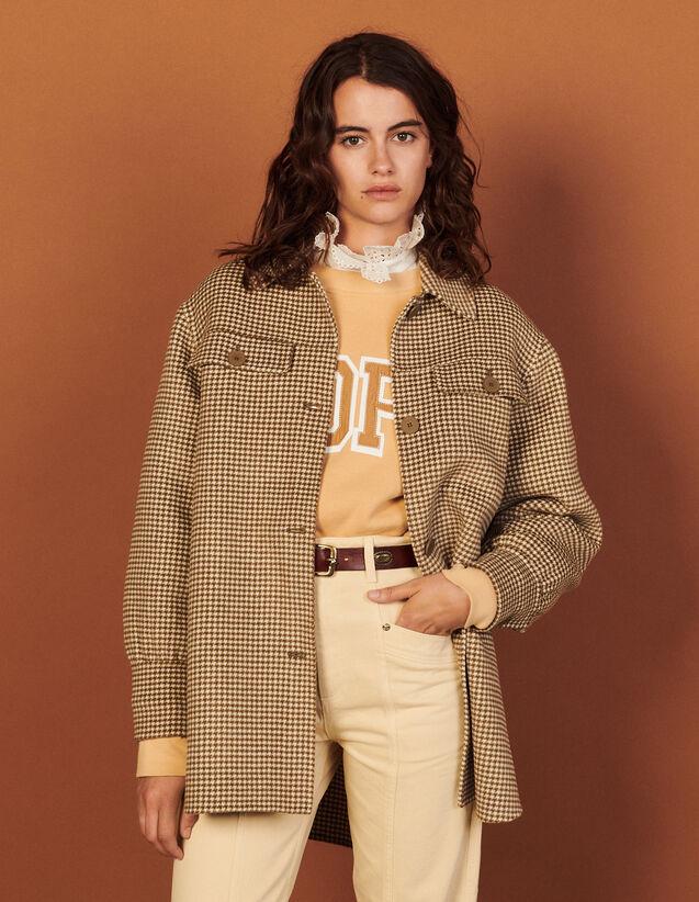 Wool Overshirt Coat With Fringing : Blazers & Jackets color Ecru