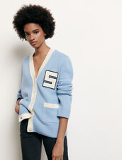 College-Style Wool Cardigan : Sweaters & Cardigans color Blue sky