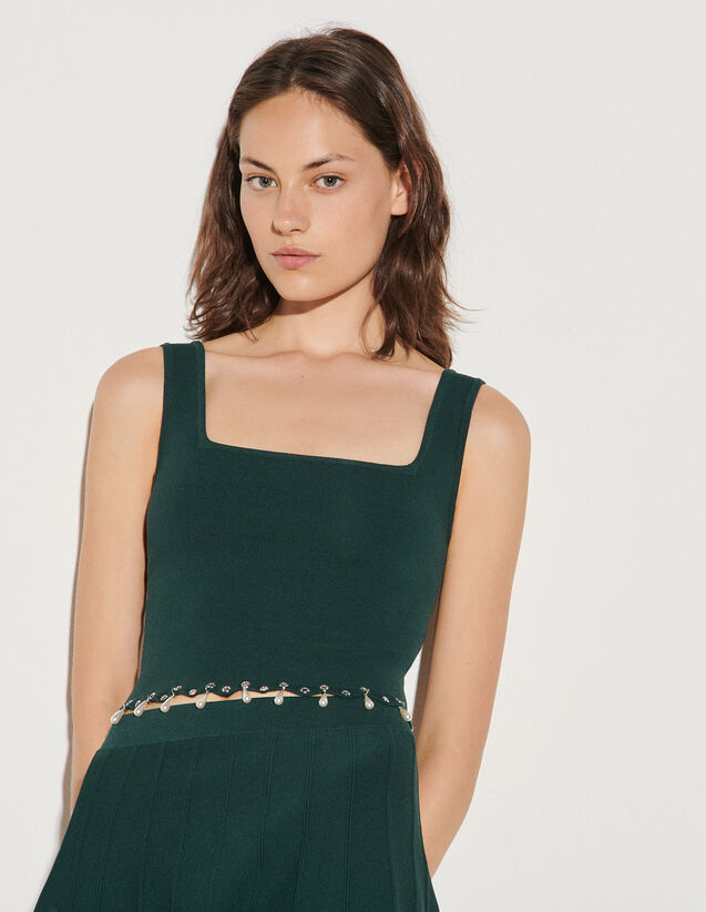 Knitted Bra Top With Tassels : Tops color Bottle Green