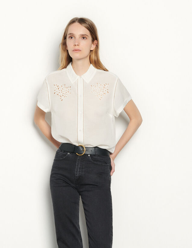 Linen Blend Embellished Shirt : Shirts color Ecru