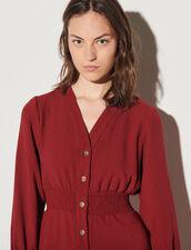 Dress With Press Studs And Smocked Belt : Dresses color Bordeaux