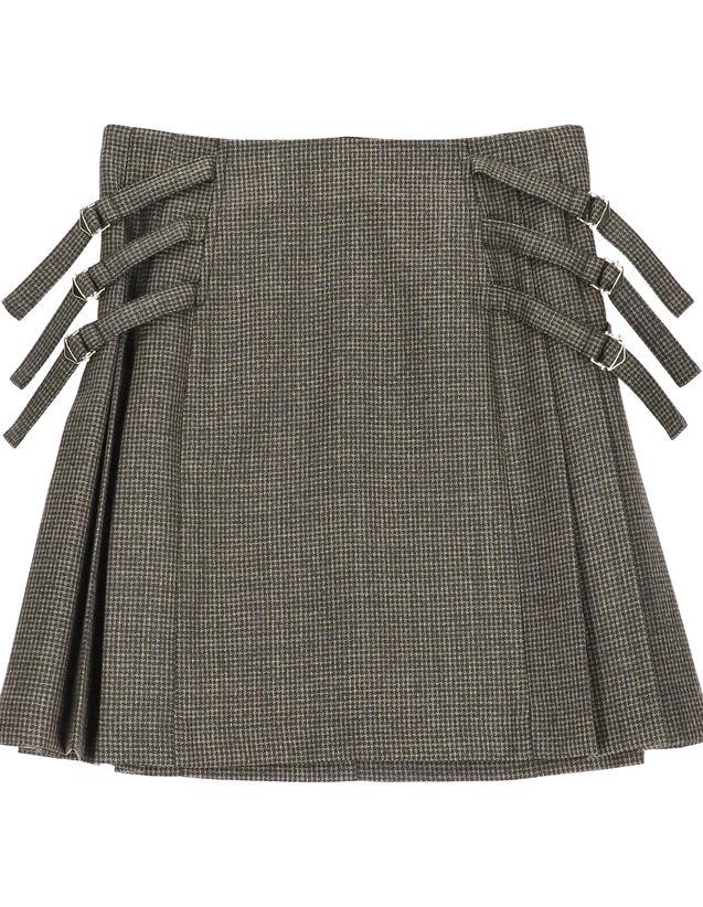 Short Pleated Skirt : Skirts & Shorts color Beige / Blue
