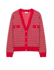 Cropped Cardigan In Fancy Tweed : Sweaters & Cardigans color Red