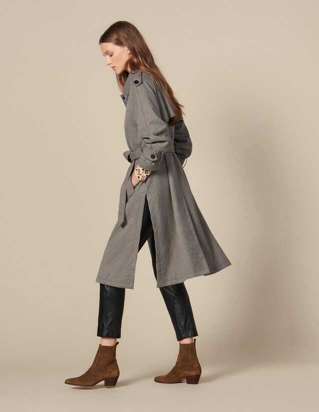 Trench Coat With Side Slits : Coats color Brown