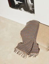 Houndstooth Wool Scarf : Scarf color Camel
