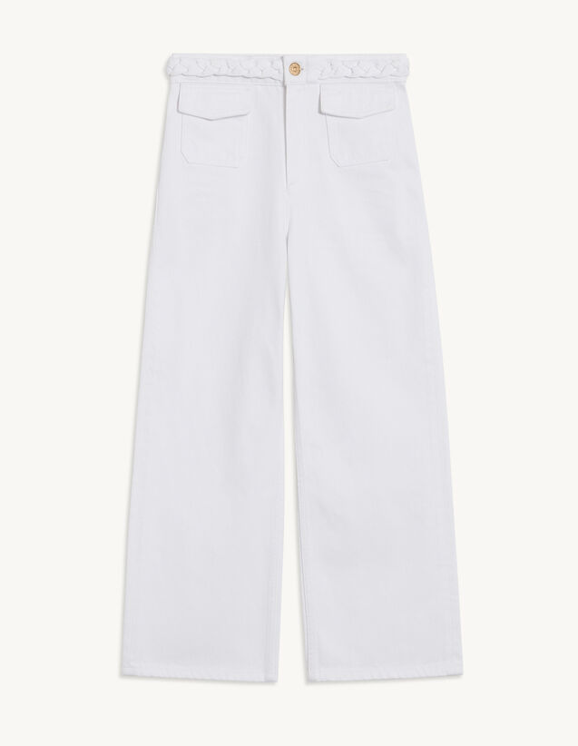 Jeans With Woven Belt : Belts color white