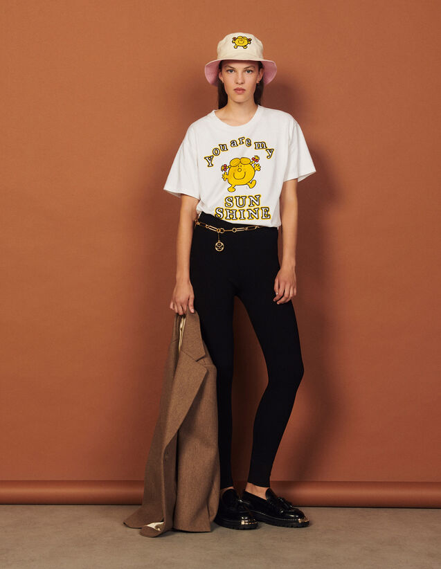 Printed T-Shirt With Embroidery : T-shirts color white