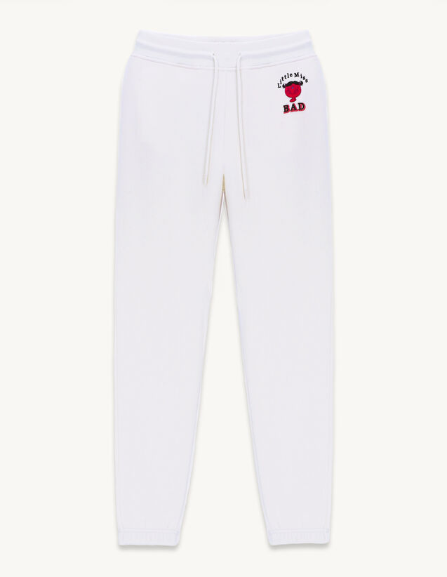 Cotton Jogging Bottoms With Print : Pants color white