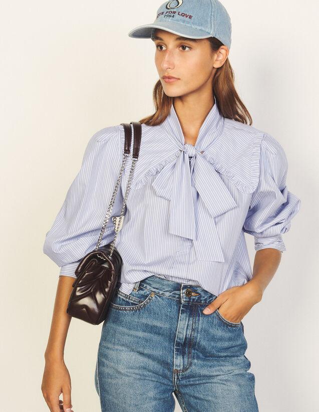 Shirt With Pussy Bow Collar : Shirts color Bleu / Marine