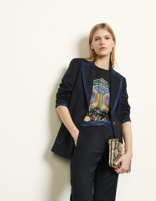 Tailored Jacket With Braid Trims : Blazer & Jacket color Navy Blue