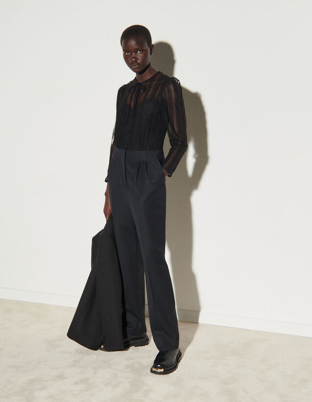 Dual Material Jumpsuit : Jumpsuits color Black