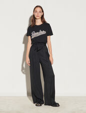 High-Waisted Wide-Leg Flowing Trousers : Pants color Black