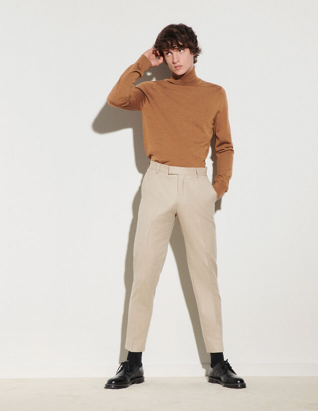 Flannel Suit Trousers : Pants & Shorts color Beige