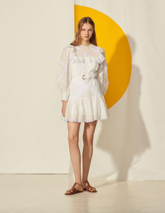 Short Dress With Ruffles And Braid Trim : Dresses color Ecru