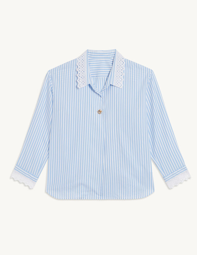 Oversized Striped Poplin Shirt : Shirts color Ciel / Blanc