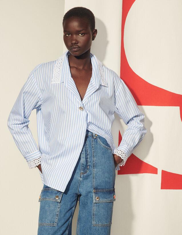 Oversized Striped Poplin Shirt : Shirts color Ciel / Blanc