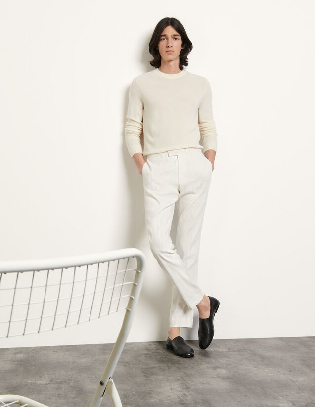 Pinstripe Trousers : Pants & Shorts color white