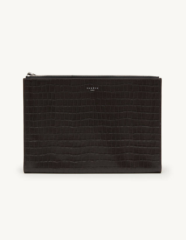 Crocodile Embossed Leather Pouch : Leather Goods color Teck