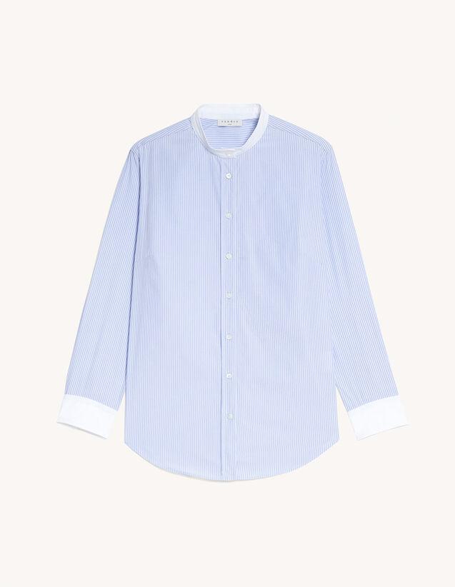Dual Material Striped Shirt : Shirts color Sky Blue