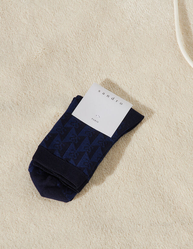 Tone-On-Tone Jacquard Socks : Other accessories color Navy Blue