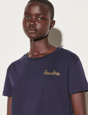Sandro Chain Embroidery T-Shirt : T-shirts color Navy Blue